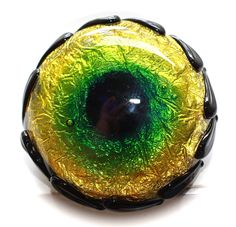 Button ~ Peacock Eye, NOT Set In Metal, Foil, Sheet & Sheath Overlay, BlackGlass Base, Lampworked by KPHoppe ~ Large by KPHoppe on Etsy