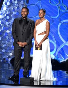 """""""Black-ish"""" stars and Emmy nominees Anthony Anderson and Tracee Ellis Ross speak onstage during the 68th Primetime Emmy Awards on Sunday, Sept. 18, 2016, at the Microsoft Theater in Los Angeles."""