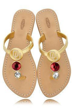 Oklahoma Sooners Ladies Jewel Embellished Flat Sandals