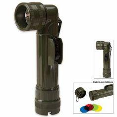 Amazon.com: Olive Drab Military GI Style C-Cell Anglehead Flashlight: Sports & Outdoors