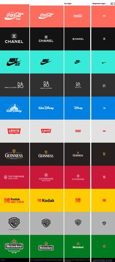 RESPONSIVE LOGOS -  Coca Cola -CHANEL - Nike AIR - Walt Disney - Levi's  - GUINNESS - Kodak - Warner Bros - Heineken - http://www.responsivelogos.co.uk/