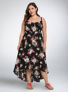 Plus Size Floral Ruffle Hi-Lo Maxi Dress, GARDEN FLORAL