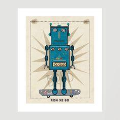 robot ron inc.ron blue bot skate edition.gallery prints by Zigjigs