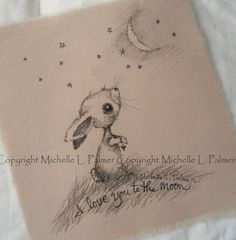 Original Pen Ink Fabric Illustration Large Quilt by MichellePalmer