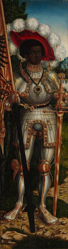 Saint Maurice, ca. 1522–25 This panel, which formed the left wing of an altarpiece, represents Maurice, the Roman legion commander from Thebes who was martyred in the late third century for refusing orders to slaughter the Christians of Gaul. Painted by Lucas Cranach the Elder and his workshop about 1522–25, likely among many works commissioned for the church at Halle, which was rededicated as a collegiate church in 1523, by Cardinal Albrecht de Brandenburg, archbishop-elector of Mainz.