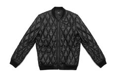 Stampd Black Diamond Quilted Leather Bomber Jacket