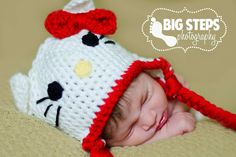 My kid I soo going to have this :) Crochet Beanie, Crochet Hats, Crafts To Do, Diy Crafts, Diy Crochet, Knitting Designs, Free Pattern, Hello Kitty, Crafty