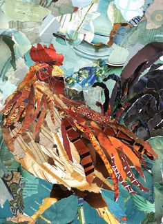 Struttin' Torn Paper Collage by robbinsart on Etsy Paper Collage Art, Painting Collage, Paper Art, Magazine Collage, Magazine Art, Paper Mosaic, Rooster Art, Chicken Art, Torn Paper