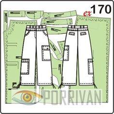 Выкройка прямых брюк длиной ¾ построена для размеров 44, 46, 48, 50, 52, 54. У брюк кокетки спереди и сзади, накладные карманы, пояс и застёжка на молнию.