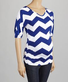 This Blue & White Zigzag Maternity Top by QT Maternity is perfect! #zulilyfinds