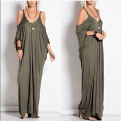1 HR SALECATARINA maxi dress - OLIVE Cold Shoulder Maxi Dress 95% Rayon 5% Spandex. AVAILABLE IN CHARCOAL, OLIVE AND BLACK. NO TRADE PRICE FIRM Bellanblue Dresses Maxi