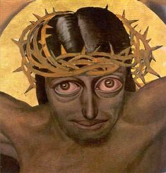 """Possibly one of the weirdest """"portraits"""" of Christ: Gustave Van de Woestijne's 1925 """"Christ sacrifices his blood""""   Van de Woestijne ( 1881 -1947) is one of the great originals in Flemish expressionist art."""