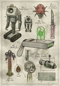 'Rick and Morty - Vintage Gadgets Poster by BelovedOddities - Compra «Rick y MortyGadgets Vintage # 1 Rick And Morty Drawing, Rick And Morty Tattoo, Tatuaje Rick And Morty, Ricky Y Morty, Rick And Morty Characters, Rick And Morty Poster, Cartoon Design, Childhood Toys, Girl Cartoon