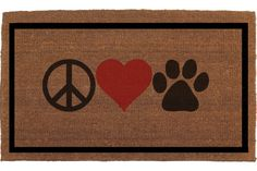 """Peace Love Paw Door Mat - Dog, Cat Lover Coir Doormat Rug, 2' x 2' 11""""  (24 Inches x 35 Inches) Welcome Mat, Housewarming Gift, Hand Painted"""