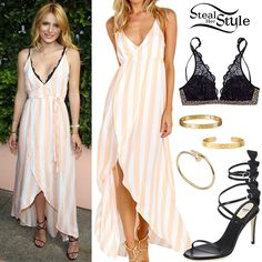 Bella Thorne arrived at the Wildfox Fragance Launch yesterday wearing the Wildfox Hotel Stripe Atlantis Wrap Dress ($154.00), a Victoria's Secret Black Lace and Leopard Print Bra (Sold Out), the Juste un Clou Yellow Gold Bracelet ($6,800), LOVE Open Bracelet in Yellow Gold Diamonds ($5,300) and LOVE Bracelet in Yellow Gold Diamonds ($10,100) all by Cartier, with a pair of Fendi Ava Strappy Sandals ($1,300).