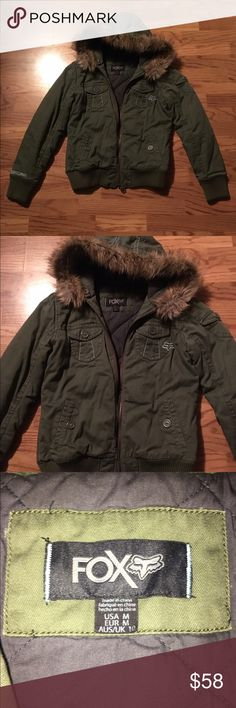Army green fox winter jacket with fur hood Super warm fox racing jacket perfect for winter. Size medium but will also fit size small Fox Jackets & Coats