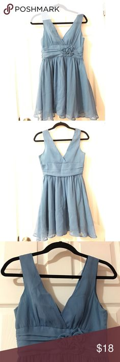Dress A baby blue dress that has cute little flowers, fancy. Never worn. Very comfortable. Forever 21 Dresses Mini