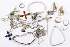 Lot 534: Sterling Silver Jewelry Assortment; Including six necklaces, three bracelets, four rings, four pair of pierced earrings, four pendants and two pins; some having gemstones, some having gold vermeil finish; all marked