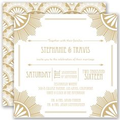 This Roaring 20's Style invite is perfect for a New Year's Eve wedding.