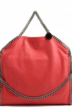 dbfc6e2c3d Stella McCartney falabella three chain fluoro pink tote falabella tre chain  corallo Stella McCartney bags shop online