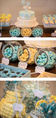 Festa Loja de doces azul e amarela com papelaria personalizada Candy shop party blue and yellow #printables