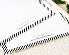 Personalized Notecard Set - Simple Stripe Border - Set of 12 Flat Personalized Stationery / Stationary Cards - classic feminine custom via Etsy