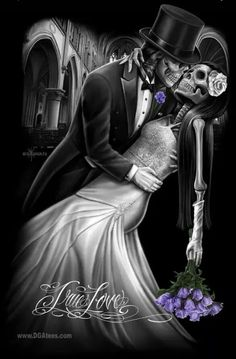 True Love By David Gonzalez Canvas Giclee by David Gonzales Art - Inked Boutique Skeleton Love, Skeleton Art, Dark Fantasy Art, Dark Art, Og Abel Art, David Gonzalez, Rock And Roll, Creepy, Lowrider Art