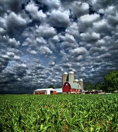 Exquisite clouds over a Midwest farm