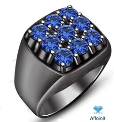 Round Cut Blue Sapphire 14k Black Gold Plated 925 Silver Nine Stone Men's Ring 7 #Affoin8 #NineStoneMensWeddingRing