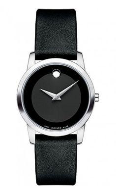 36c1416b0 Movado Museum Classic Ladies Watch W/ Black Dial & Black Calfskin Strap  Style# 0606503