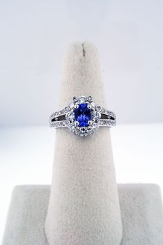 ba7b76589f0 We can t get enough of this lovely violet Tanzanite and diamond halo ring