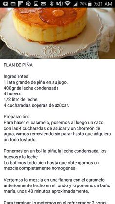 me ~ Flan de piña Jello Desserts, Jello Recipes, Mexican Food Recipes, Delicious Desserts, Just Desserts, Cake Recipes, Yummy Food, Recipies, Chocoflan Recipe