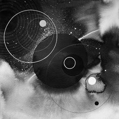 graphic design artwork in black and white with geometric figures and circles | typography / graphic design: Matt W. Moore |