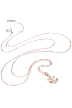 this rose gold necklace features a #diamond covered #anchor pendant, which symbolises hope and strong foundations I NEWONE-SHOP.COM