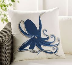 "Embroidered Octopus Indoor/Outdoor Pillow, 20"", Blue Multi"