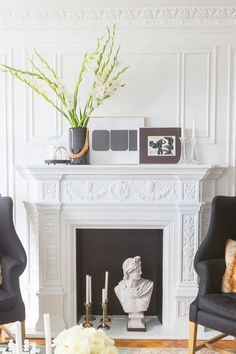 Get inspired by Traditional Living Room Design photo by Jessie D[P] Miller Design. Wayfair lets you find the designer products in the photo and get ideas from thousands of other Traditional Living Room Design photos. White Fireplace, Fireplace Mantle, Fireplace Design, White Mantel, Fireplace Ideas, Mantle Art, Style At Home, My Living Room, Living Room Decor