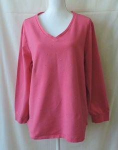 Quaker Factory Women Pink Jeweled Long Sleeve Shirt Size 1X #QuackerFactory #Blouse