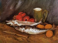 Vincent Van Gogh Still Life With Mackerels, Lemons And Tomatoes Oil Painting Reproductions for sale Vincent Van Gogh Werke, Vincent Willem Van Gogh, Claude Monet, Canvas Art Prints, Oil On Canvas, Large Canvas, Van Gogh Still Life, Van Gogh Arte, Van Gogh Paintings