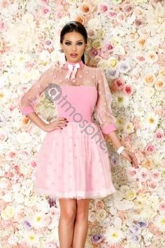 Rochie baby-doll roz cu buline Rn 1110 - imaginea 1