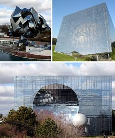 Parc du Futuroscope, France  -  Vienne, France glitters with a series of brilliant glass buildings that together form the Parc du Futuroscope, a theme park based on multimedia, cinematographic futuroscope & audio-visual techniques. The faceted Cinema is harsh & jagged, calling to mind crystal shards, while L'Omnimax is a sphere encased w/in a glass box. A 3rd structure, L'Imax 3D, is covered in mirrored glass tiles.