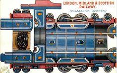 London, Midland & Scottish Railway Vintage Paper Model - by Tuck DB - == - A beautiful vintage British postcard with a Locomotive paper model, by Tuck DB Postcards.