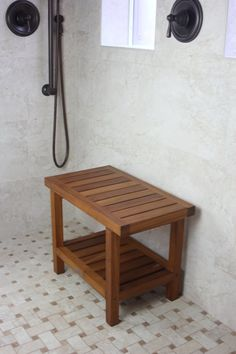 Teak Shower Bench - From the Spa Collection Teak Furniture, Woodworking Furniture, Modern Furniture, Teak Shower Stool, Shower Benches, Wooden Shower Bench, Shower Chairs For Elderly, Bad Bank, Bathroom Bench