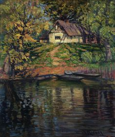 White Cottege near the River - Vaclav Radimsky Cozyhuarique Subic, New Art, Places To Visit, River, Artwork, Artist, Landscapes, Europe, Paintings