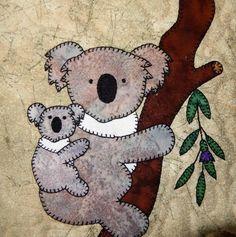 (7) Name: 'Quilting : Koala Mum and Baby Applique Block