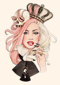 "gorgeous Lady Gaga fanart by Helen Green ""She's a Killer Queen"" Helen Green, Audrey Kawasaki, Fan Art, Killer Queen, Little Monsters, Fashion Illustrations, Creepy, Illustration Art, Creations"