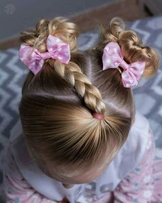 side-braid and two small, curled pigtails with bows, cute hairstyles, on the hea… – Pigtail Hairstyles Easy Little Girl Hairstyles, Cute Girls Hairstyles, Braided Hairstyles, Easy Toddler Hairstyles, Pigtail Hairstyles, Girl Hair Dos, Girls Braids, Gorgeous Hair, Hair Inspiration