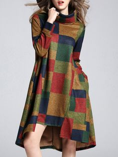 Shop Midi Dresses - Multicolor Geometric Color-block Statement Turtleneck Midi Dress online. Discover unique designers fashion at StyleWe.com.