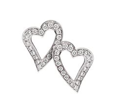 PS… 18ct white gold diamond heart earrings D705702