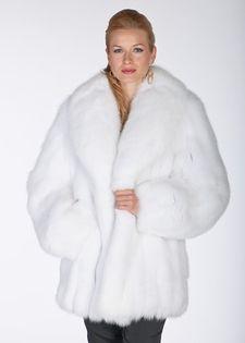 8e1dbccfedfa36 Madison Avenue Mall White Fox Fur Jacket -real fur Shawl Collar for