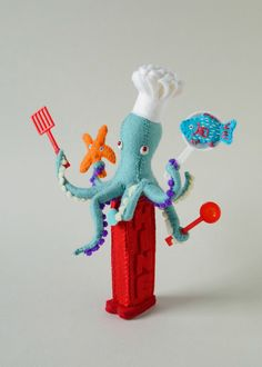 Hine's Dispensers: Cooking Art Print by HinA(c) Mizushima - X-Small Felt Diy, Felt Crafts, Diy And Crafts, Wool Dolls, Guys And Dolls, Felt Decorations, Inspiring Things, Soft Sculpture, Diy Toys